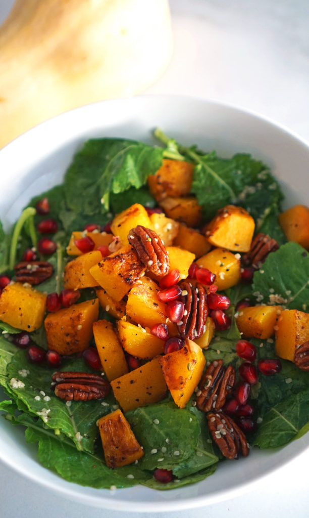Butternut Squash Salad with Pomegranate and Kale